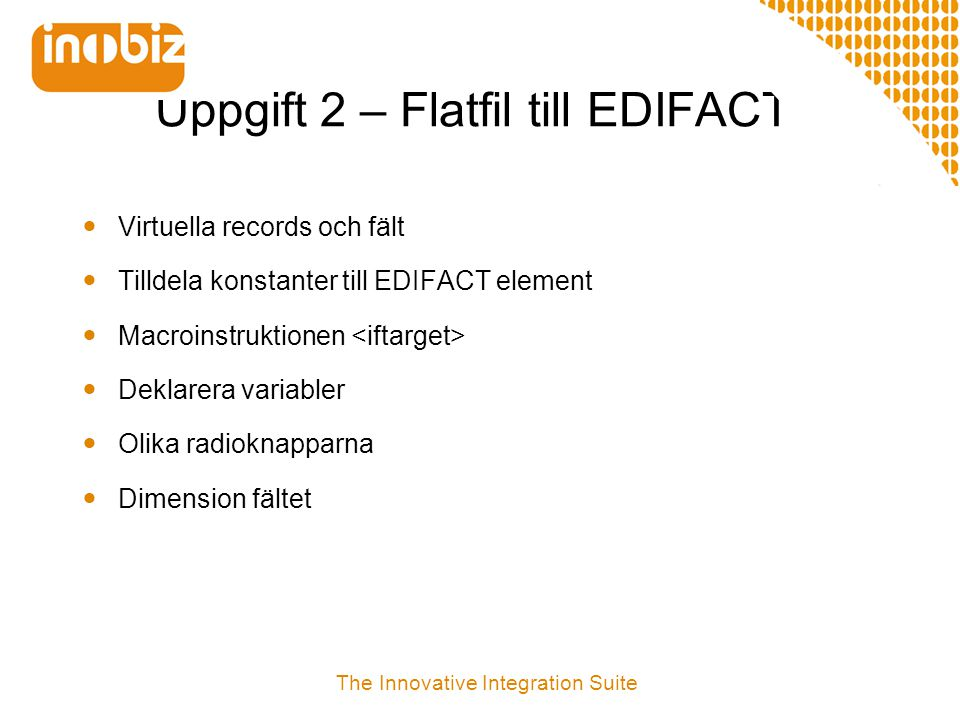 Uppgift 2 – Flatfil till EDIFACT