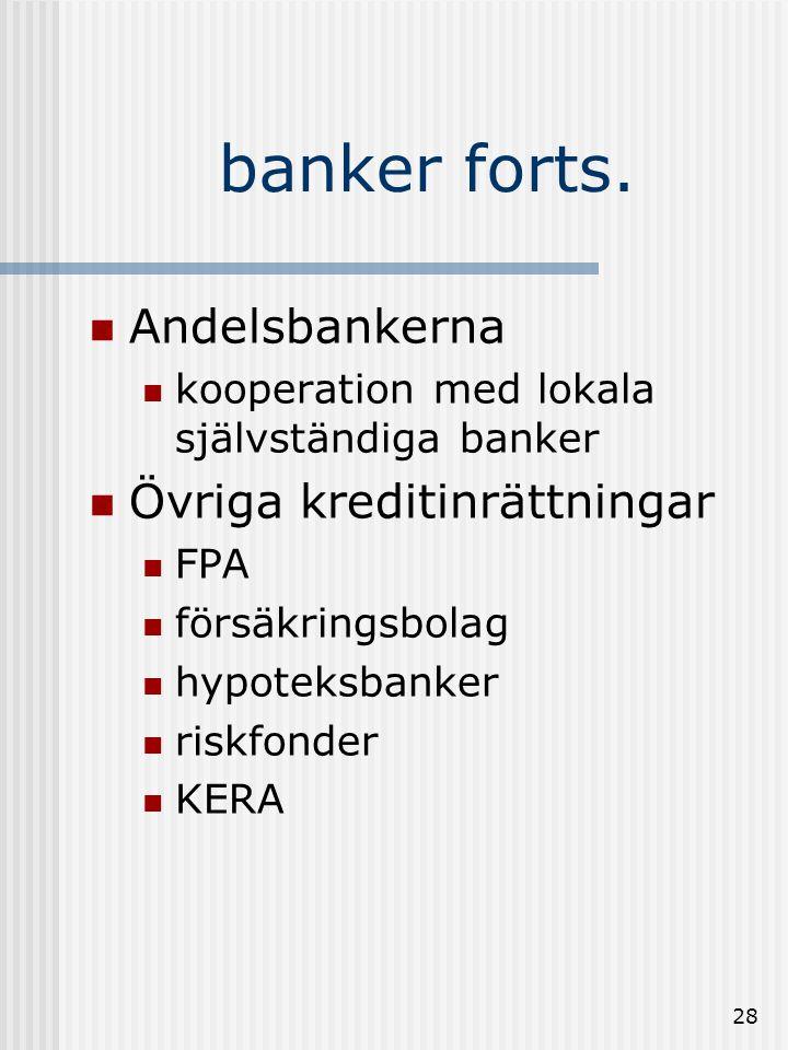 banker forts. Andelsbankerna Övriga kreditinrättningar