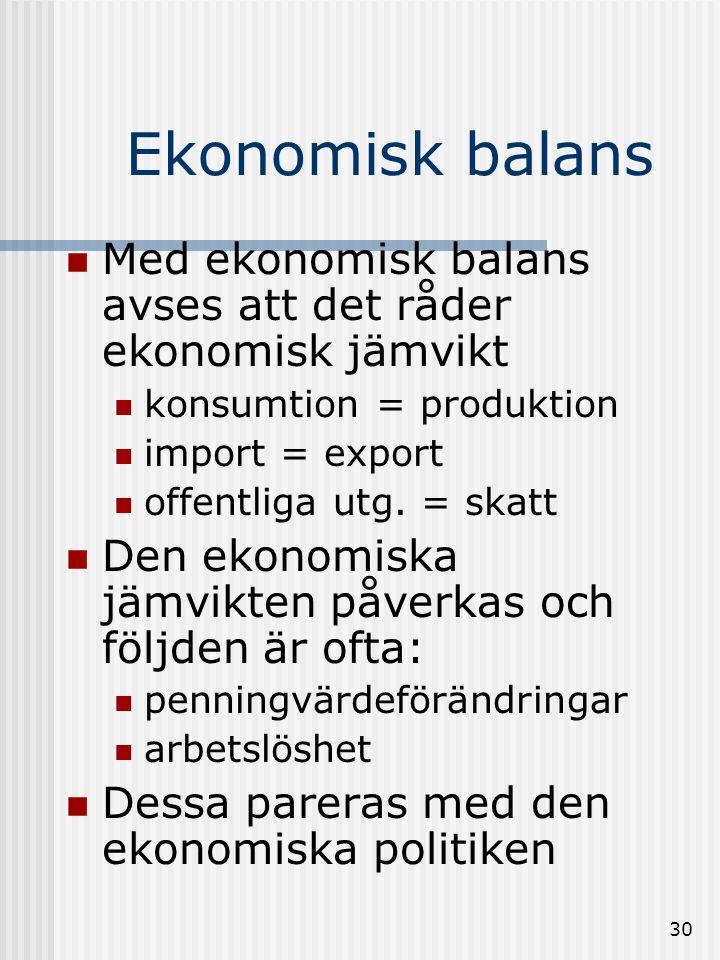 Ekonomisk balans Med ekonomisk balans avses att det råder ekonomisk jämvikt. konsumtion = produktion.