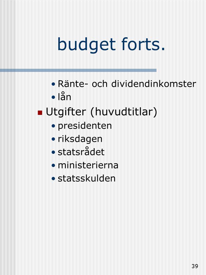 budget forts. Utgifter (huvudtitlar) Ränte- och dividendinkomster lån