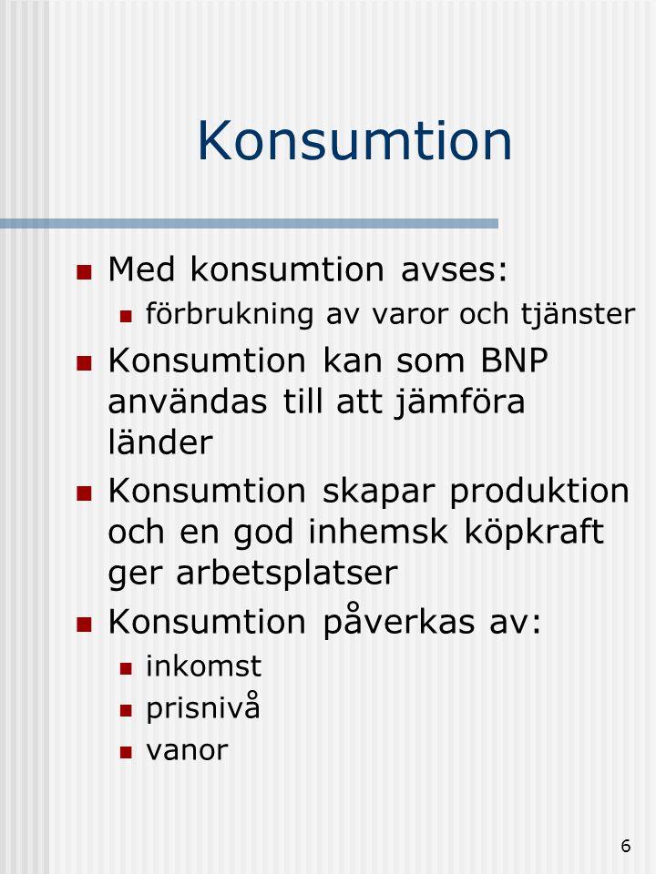Konsumtion Med konsumtion avses: