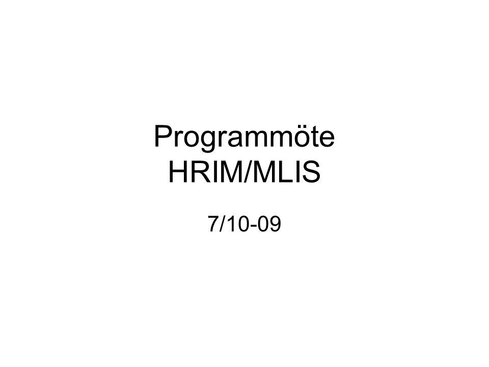Programmöte HRIM/MLIS