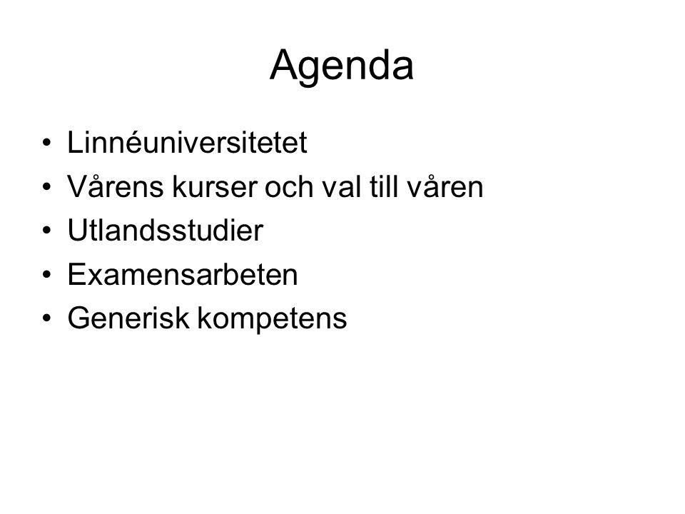 Agenda Linnéuniversitetet Vårens kurser och val till våren