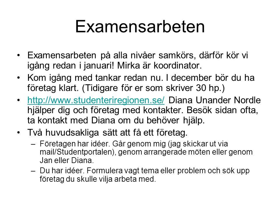 Examensarbeten Examensarbeten på alla nivåer samkörs, därför kör vi igång redan i januari! Mirka är koordinator.