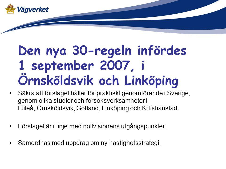 Den nya 30-regeln infördes 1 september 2007, i Örnsköldsvik och Linköping