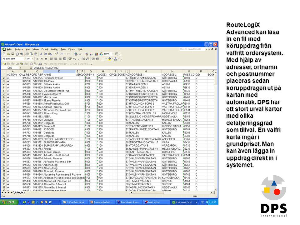 RouteLogiX Advanced kan läsa in en fil med köruppdrag från valfritt ordersystem. Med hjälp av adresser, ortnamn och postnummer placeras sedan köruppdragen ut på kartan med automatik. DPS har ett stort urval kartor med olika detaljeringsgrad som tillval. En valfri karta ingår i grundpriset. Man kan även lägga in uppdrag direkt in i systemet.