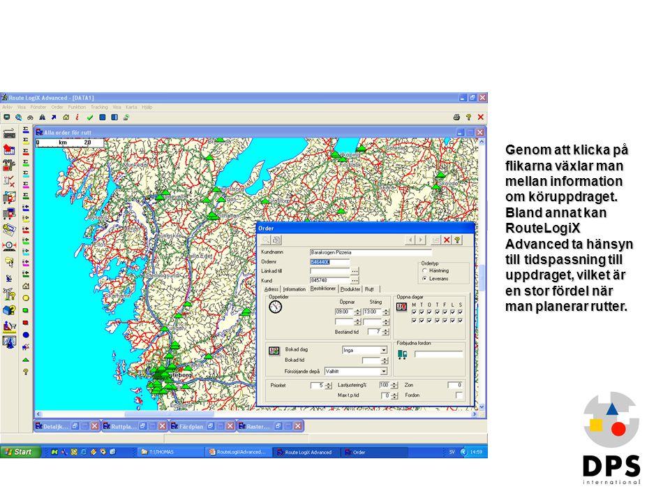 Genom att klicka på flikarna växlar man mellan information om köruppdraget. Bland annat kan RouteLogiX Advanced ta hänsyn till tidspassning till uppdraget, vilket är en stor fördel när man planerar rutter.