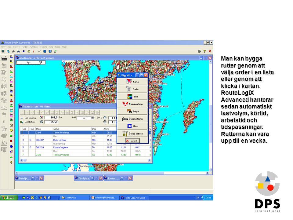 Man kan bygga rutter genom att välja order i en lista eller genom att klicka i kartan. RouteLogiX Advanced hanterar sedan automatiskt lastvolym, körtid, arbetstid och tidspassningar. Rutterna kan vara upp till en vecka.