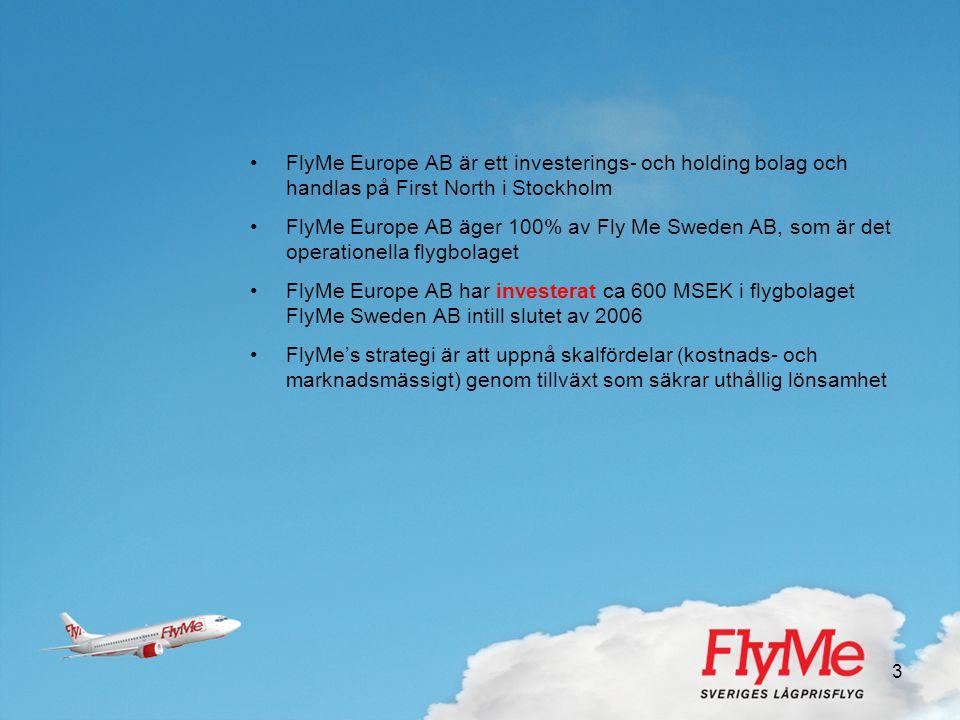 FlyMe Europe AB är ett investerings- och holding bolag och handlas på First North i Stockholm