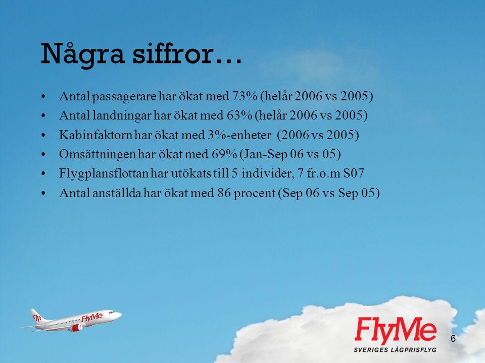 Några siffror… Antal passagerare har ökat med 73% (helår 2006 vs 2005)