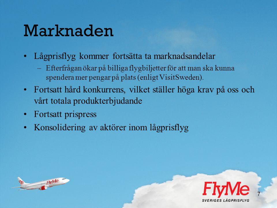 Marknaden Lågprisflyg kommer fortsätta ta marknadsandelar