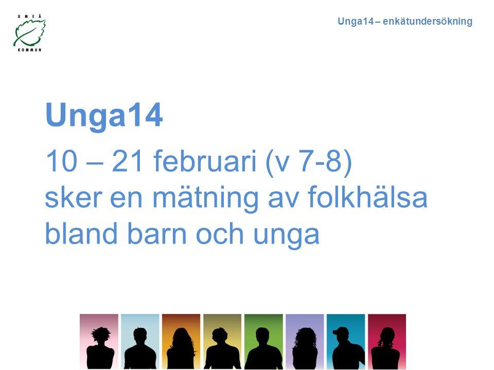 Unga14 10 – 21 februari (v 7-8) sker en mätning av folkhälsa bland barn och unga