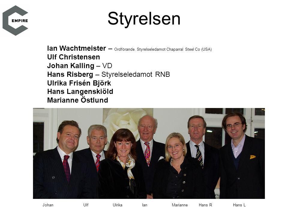 Styrelsen Ian Wachtmeister – Ordförande. Styrelseledamot Chaparral Steel Co (USA) Ulf Christensen.