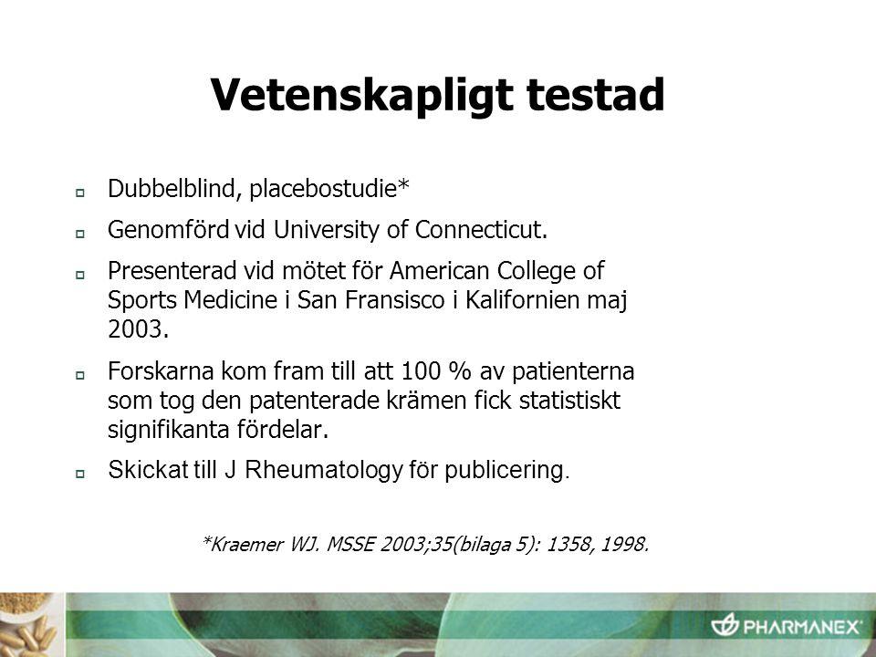 Vetenskapligt testad Dubbelblind, placebostudie*