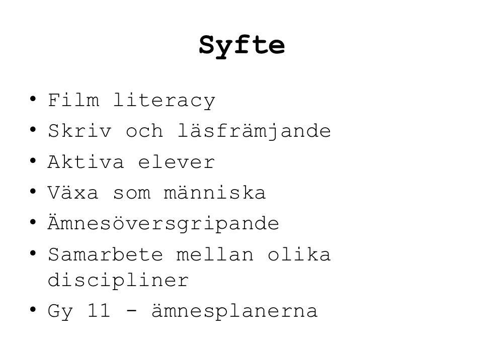 Syfte Film literacy Skriv och läsfrämjande Aktiva elever