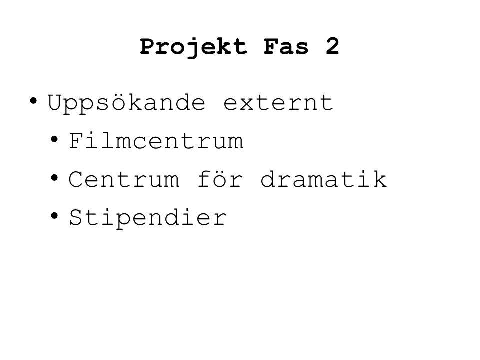 Projekt Fas 2 Uppsökande externt Filmcentrum Centrum för dramatik Stipendier