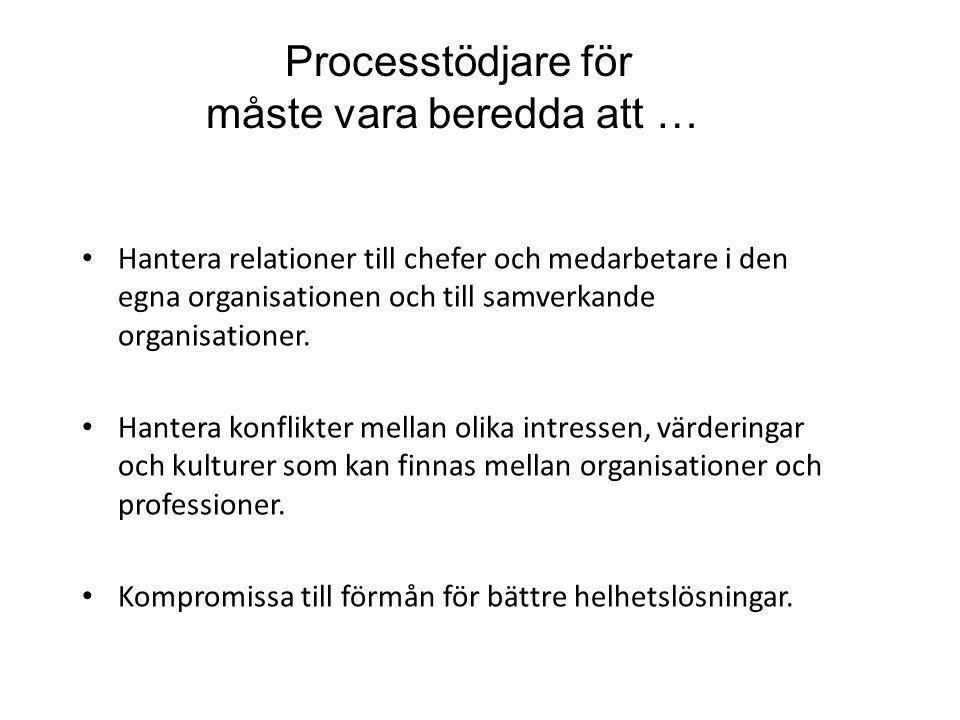 Processtödjare för måste vara beredda att …