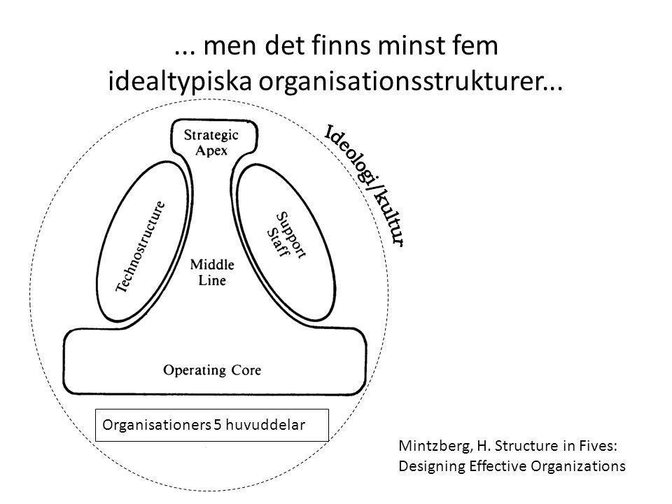 ... men det finns minst fem idealtypiska organisationsstrukturer...