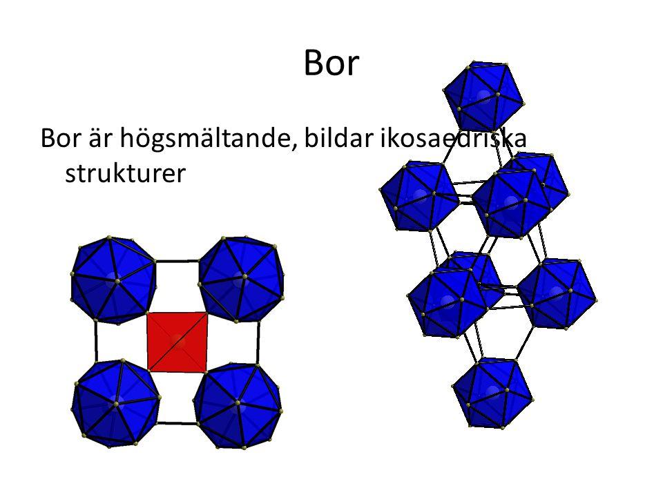 Bor Bor är högsmältande, bildar ikosaedriska strukturer