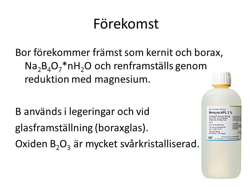 Förekomst Bor förekommer främst som kernit och borax, Na2B4O7*nH2O och renframställs genom reduktion med magnesium.