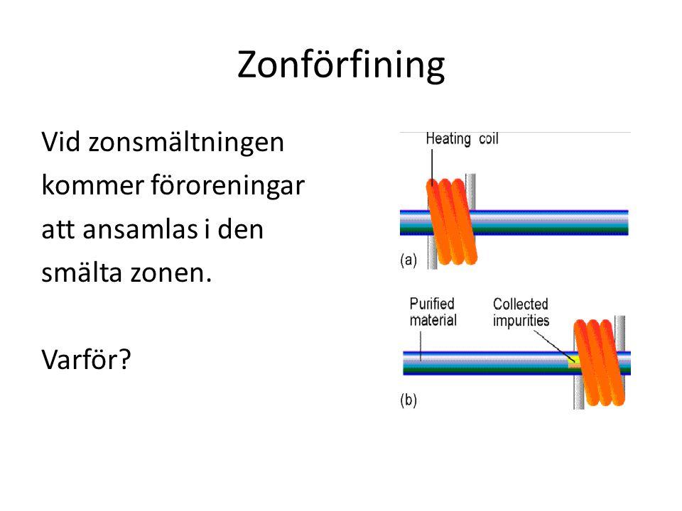 Zonförfining Vid zonsmältningen kommer föroreningar att ansamlas i den