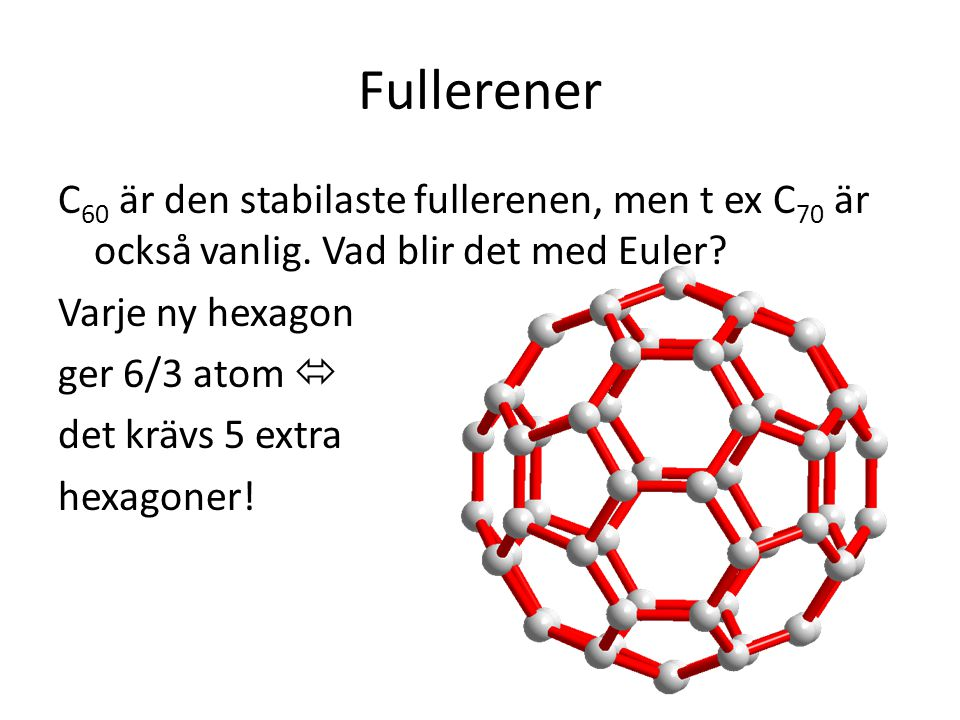 Fullerener C60 är den stabilaste fullerenen, men t ex C70 är också vanlig. Vad blir det med Euler Varje ny hexagon.