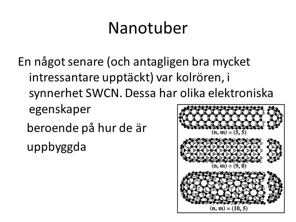 Nanotuber En något senare (och antagligen bra mycket intressantare upptäckt) var kolrören, i synnerhet SWCN. Dessa har olika elektroniska egenskaper.