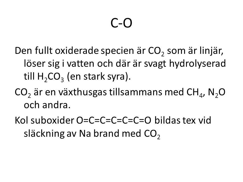 C-O Den fullt oxiderade specien är CO2 som är linjär, löser sig i vatten och där är svagt hydrolyserad till H2CO3 (en stark syra).