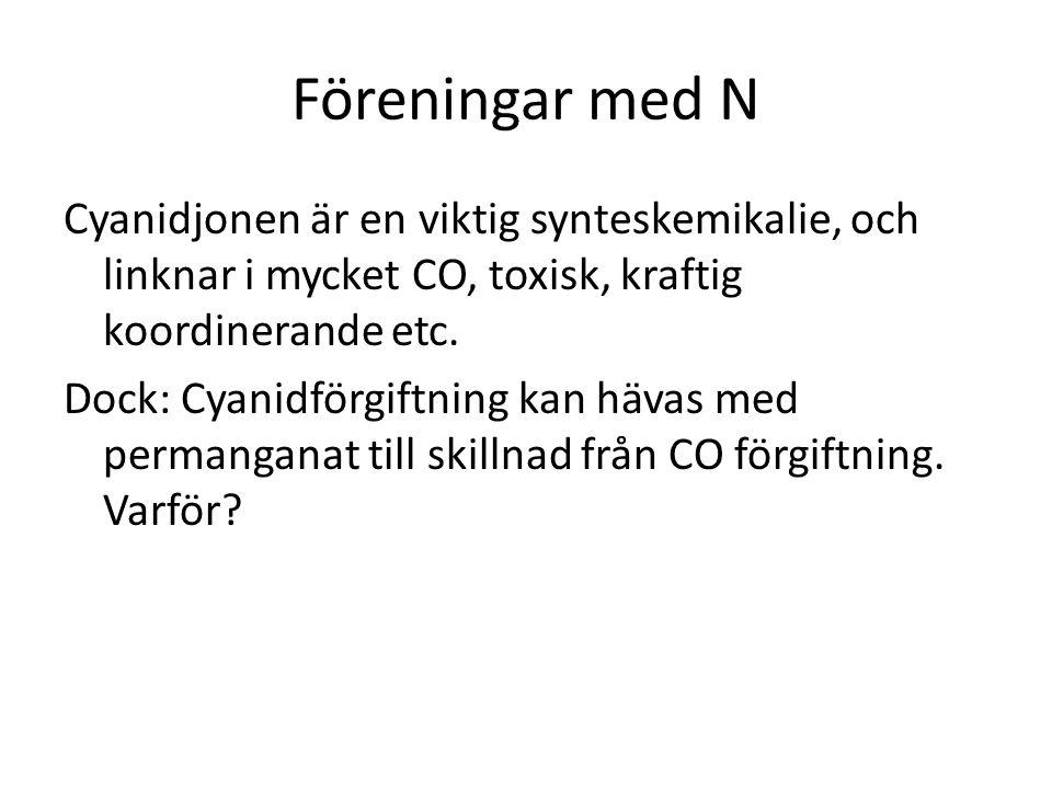 Föreningar med N Cyanidjonen är en viktig synteskemikalie, och linknar i mycket CO, toxisk, kraftig koordinerande etc.