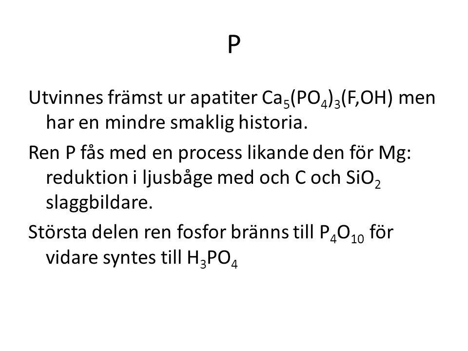 P Utvinnes främst ur apatiter Ca5(PO4)3(F,OH) men har en mindre smaklig historia.