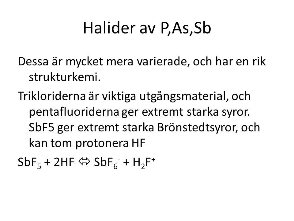 Halider av P,As,Sb Dessa är mycket mera varierade, och har en rik strukturkemi.