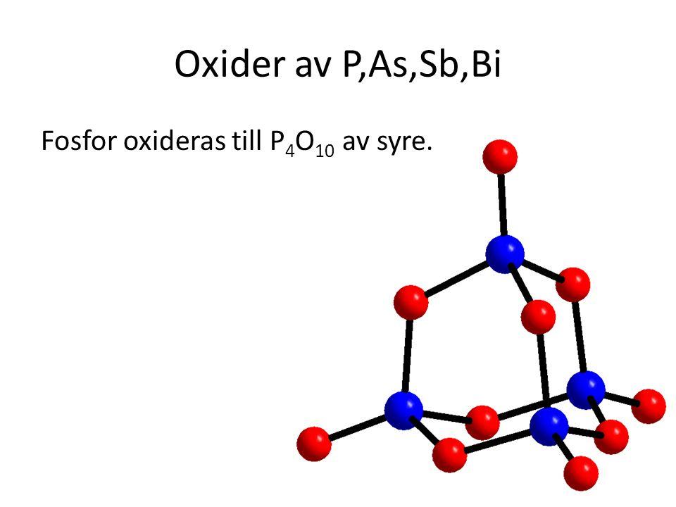 Oxider av P,As,Sb,Bi Fosfor oxideras till P4O10 av syre.