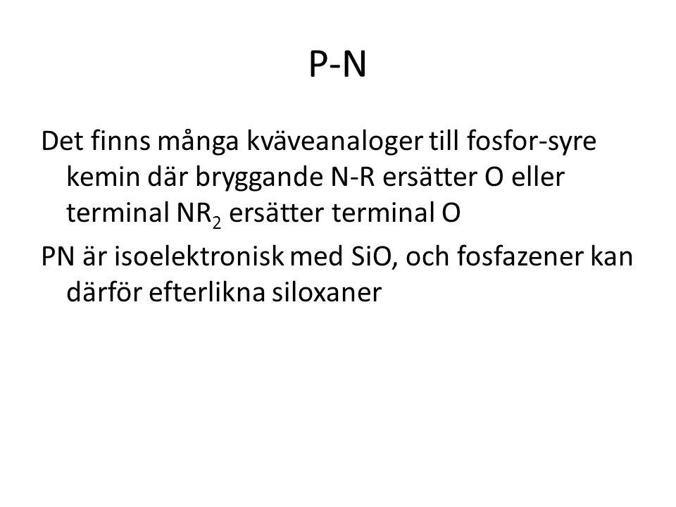 P-N Det finns många kväveanaloger till fosfor-syre kemin där bryggande N-R ersätter O eller terminal NR2 ersätter terminal O.