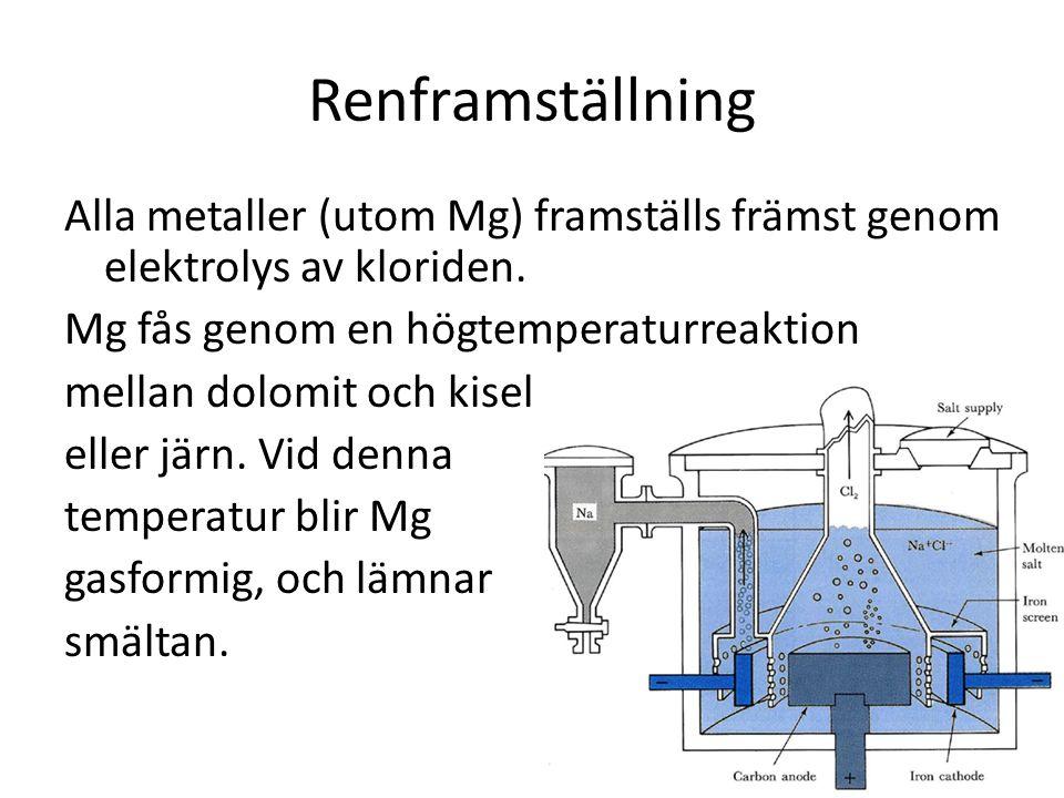 Renframställning Alla metaller (utom Mg) framställs främst genom elektrolys av kloriden. Mg fås genom en högtemperaturreaktion.