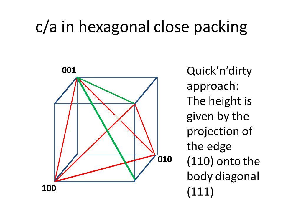c/a in hexagonal close packing