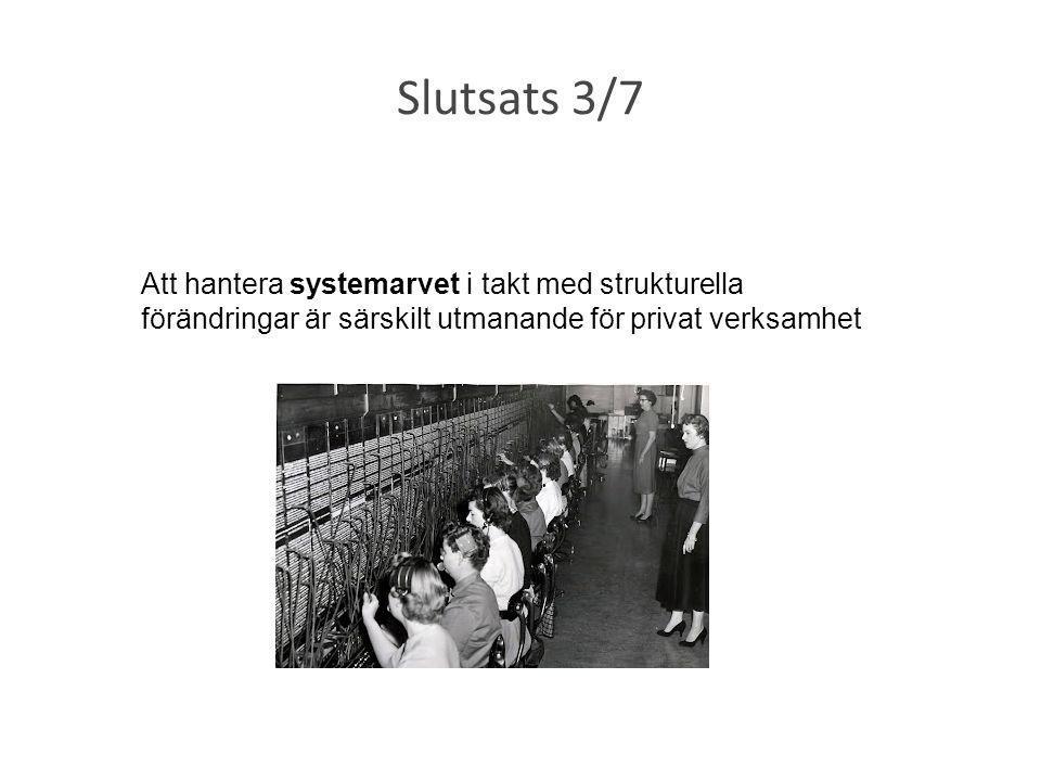 Slutsats 3/7 Att hantera systemarvet i takt med strukturella förändringar är särskilt utmanande för privat verksamhet.