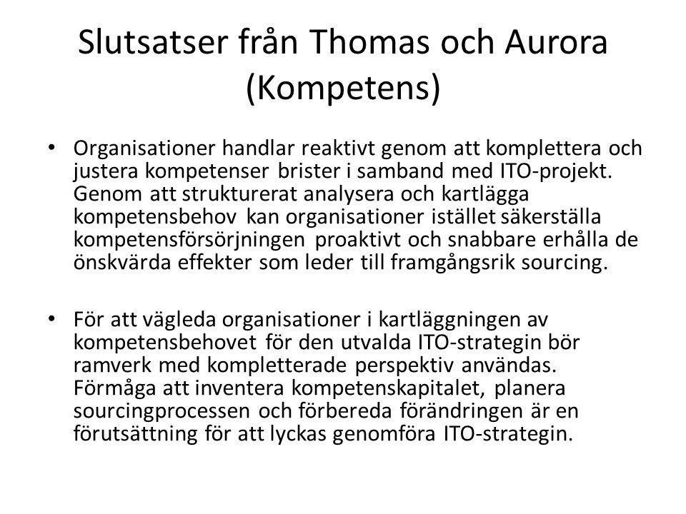 Slutsatser från Thomas och Aurora (Kompetens)