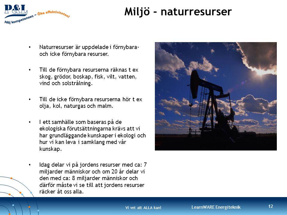 Miljö - naturresurser Naturresurser är uppdelade i förnybara- och icke förnybara resurser.