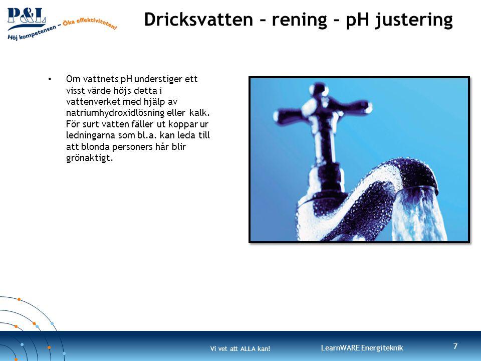 Dricksvatten – rening – pH justering