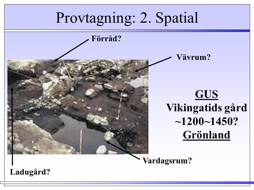 Provtagning: 2. Spatial GUS Vikingatids gård ~1200~1450 Grönland