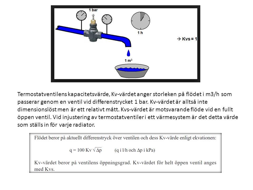 Termostatventilens kapacitetsvärde, Kv-värdet anger storleken på flödet i m3/h som
