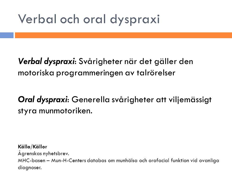 Verbal och oral dyspraxi