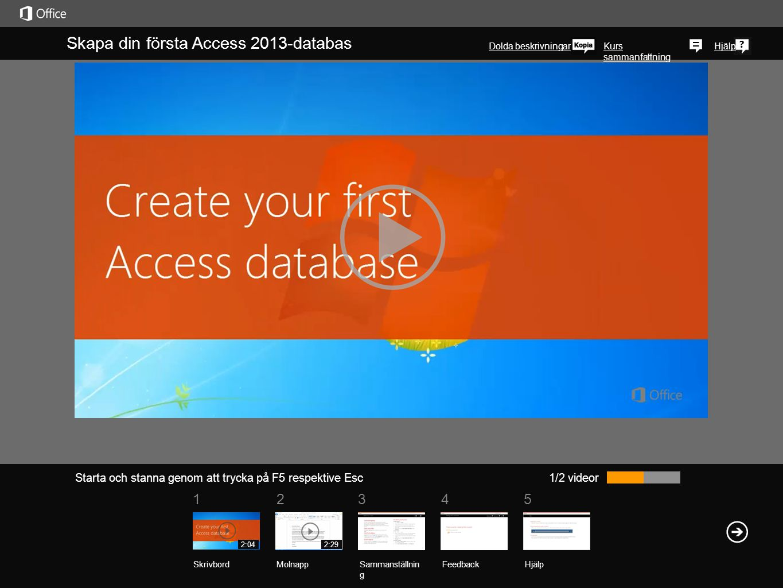 Skapa din första Access 2013-databas