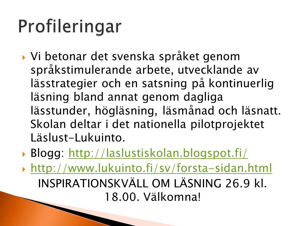 INSPIRATIONSKVÄLL OM LÄSNING 26.9 kl. 18.00. Välkomna!