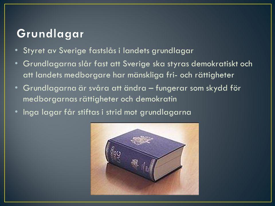 Grundlagar Styret av Sverige fastslås i landets grundlagar
