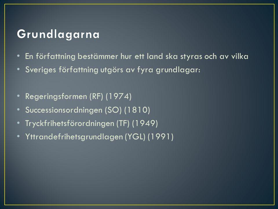 Grundlagarna En författning bestämmer hur ett land ska styras och av vilka. Sveriges författning utgörs av fyra grundlagar: