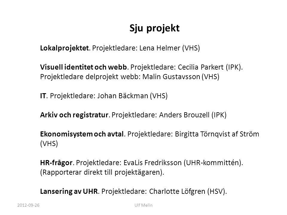 Sju projekt Lokalprojektet. Projektledare: Lena Helmer (VHS)