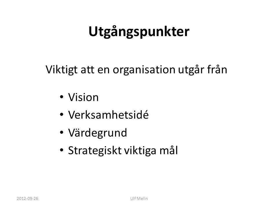 Utgångspunkter Viktigt att en organisation utgår från Vision