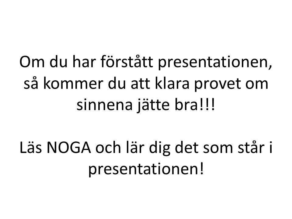 Om du har förstått presentationen, så kommer du att klara provet om sinnena jätte bra!!.
