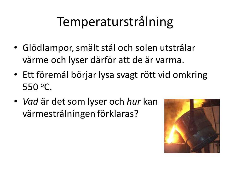 Temperaturstrålning Glödlampor, smält stål och solen utstrålar värme och lyser därför att de är varma.
